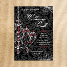 Black Damask Halloween Chandelier Adult Formal Party Invitations - Stationery by razzledazzledesign on Etsy. $1.56, via Etsy.