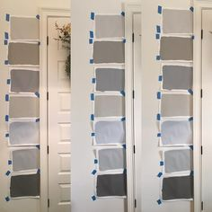 Benjamin Moore paint in different lighting. From top... Collingwood, Rockport, storm, Revere Pewter, Pelican gray, Metropolitan, Chelsea Gray