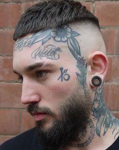 Short Hairstyles for Men - Nagel Mode Cool Face Tattoos, Face Tats, Tattoos For Guys, Random Tattoos, Military Buzz Cut, Short Hair Cuts, Short Hair Styles, Tatted Men, Piercings