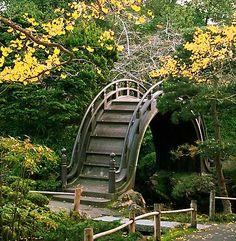 Petit pont dans un jardin de thé japonais.