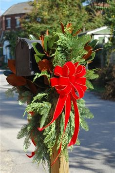 double sided swag for your mailbox perfect for all to see who drive by - Christmas Mailbox Decorations Ideas
