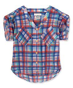 Loving this RUUM White & Blue Plaid Button-Up - Toddler & Girls on #zulily! #zulilyfinds