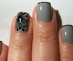 Black and gray. I love this very thin french tip. And of course the cute design.
