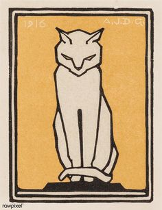 Sitting cat (1916) by Julie de Graag (1877-1924). Original… | Flickr Fox Images, Cat Allergies, Matchbox Art, Cat Art Print, Stamp Printing, Image Cat, Curious Cat, Drawing Projects, Cat Colors