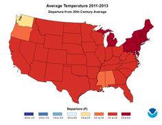 Variación de la temperatura de EEUU respecto a la media, desde 2011. Tela...  #bienvenidosalAntropoceno