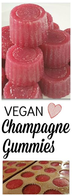 Vegan Champagne Gummies for Valentine's Day – made with agar flakes!