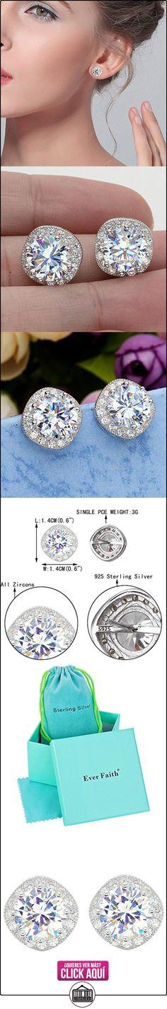 EVER FAITH® 925 Sterling Silver Cubic Zirconia Elegante Almohadilla Corte Halo Stud Pendientes N07383-1  ✿ Joyas para mujer - Las mejores ofertas ✿ ▬► Ver oferta: https://comprar.io/goto/B019Q17ZS8