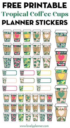Free Printable Tropical Coffee Cups Planner Stickers Free Printable Tropical Starbucks Coffee Cups Planner Stickers to decorate your planner or bullet journal: keep track of your spending and coffee dates… Includes 5 different tropical patterns. To Do Planner, Free Planner, Planner Pages, Happy Planner, Printable Planner Stickers, Free Printables, Printable Sticker Paper, V Wings, Ballerina Silhouette
