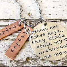 Mother Son Hand Stamped Personalized Sterling Silver Mom Necklace - So There's This Boy, There are These Boys-Alex Ani