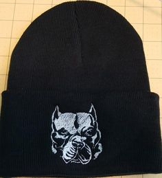 Hand Made Pit Bull Knit Hat Cropped Ears