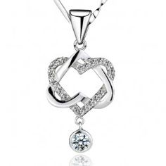 """A True Lover's Knot"" Romantic Hearts With Crystal White Gold plated Women's Sterling Silver Necklace - USD $49.95"