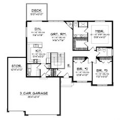 Home Plans HOMEPW76024 - 1,664 Square Feet, 3 Bedroom 2 Bathroom Ranch Home with 3 Garage Bays