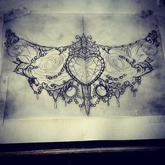 under chest tattoo Jewel Tattoo, 4 Tattoo, Sternum Tattoo, Lace Tattoo, Chest Tattoo, Tattoo Baby, Hand Tattoos, Skull Tattoos, Sleeve Tattoos