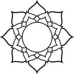 Lotus black white line art tattoo tatoo flower SVG - ClipArt Best Flower Line Drawings, Line Flower, Flower Circle, Flower Svg, Outline Drawings, Flower Clipart, Mandalas Painting, Mandalas Drawing, Mandala Coloring Pages
