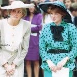 Diana with her sister Lady Sarah McCorquodale at a 1990 wedding - she always lent her sister her least famous outfits, (this one having been worn only once by Diana at Ascot) but by the look on her face its possible the bride just fell over.