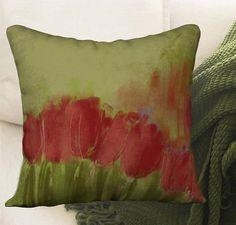 Housse de coussin fleurs tulipes velours 12x24 ou 18x18 Art Floral, Etsy, Throw Pillows, Green, Red, Tulips, Velvet, Impressionism, Cushions