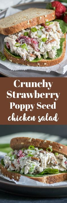 Crunchy Strawberry Poppy Seed Chicken Salad ~ enjoy berry season with this crunchy chicken salad packed with strawberries, celery, pecans and more! Poppy Seed Chicken Salad, Pecan Chicken Salads, Chicken Salad Recipes, Recipe Chicken, Salad Chicken, Clean Eating Recipes, Lunch Recipes, Summer Recipes, Dinner Recipes