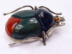 Vintage silver and agate beetle pin