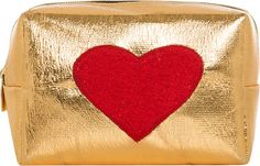 Emma Lomax Gold Mini Bag with Red Heart Red Gold, Mini Bag, Needlework, Card Holder, Embroidery, Heart, Makeup, Bags, Kit