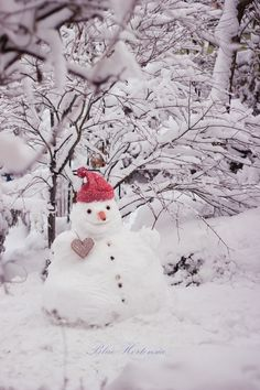 Snowman with red toque. Christmas Hearts, Winter Christmas, Christmas Time, Winter Pictures, Christmas Pictures, Snow Sculptures, Snow Art, Winter Scenery, Winter Magic