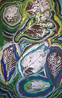 leaf prints plus oil pastel