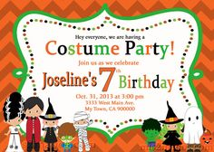 Halloween Costume Party Custom Birthday by M2MPartyDesigns on Etsy, $9.00