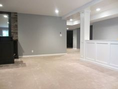 half walls are perfect for basement renovations - keeping space open, while hidi. half walls are p Basement Wall Colors, Gray Basement, Basement Painting, Basement Carpet, Basement Walls, Basement Ideas, Basement Color Schemes, Open Basement, Hanging Room Dividers