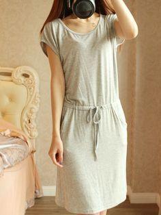 Heather Gray Midi Cotton Dress - Fallfor.com