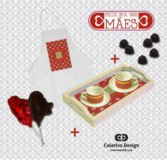 Dia das Mães - Customized For You  Coletivo Design - Avental Personalizado + 2 Xícaras Personalizadas (com pires e colher) + Bandeja com 2 Azulejos Personalizados + 2 Pirulitos de Chocolate + 6 Bombons