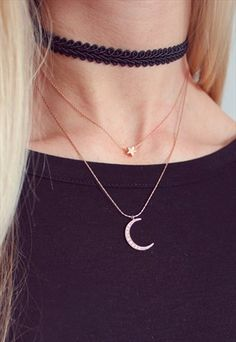 Little Rose Gold Star & Moon Necklace Set