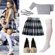 Plaid skirt,nude pumps,white knee high socks and a grey mid draft top