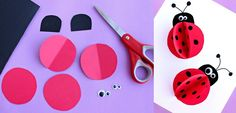 Paper Ladybug Craft for Kids - Crafty Morning Start by cutting out two circles with red paper of the same size. Bend them in half and draw black dots with the sharpie Fall Crafts For Kids, Paper Crafts For Kids, Spring Crafts, Paper Crafting, Kindergarten Crafts, Preschool Crafts, Construction Paper Flowers, Insect Crafts, Ladybug Crafts