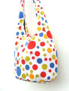 Shoulder Bag Bohemian Bag Multicolored Spots Bag Messenger Bag White color Hippie Hobo Crossbody Bag Boho Purse Sling Thai art Gift Bag by Avivahandmade on Etsy