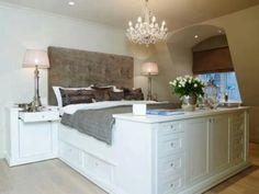 Dresser as footboard. Love it!
