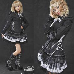 Black Pleated Fringe Long Sleeve Gothic Lolita Dress Shirts Women SKU-11407190