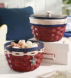 Red, white, and blue Americana baskets from Longaberger.