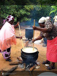 Cooking for the wedding . Botswana