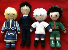 Amigurumi versions of the four main characters from Hunter x Hunter: Kurapika, Leorio, Killua, and Gon.