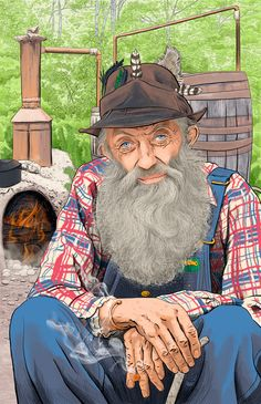 """Makin' moonshine with Popcorn Sutton. — Michele Melcher Illustration.... ---added note of research done """"Coon Pecker In Hand""""  according to legend frm Google search"""