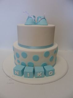 Simple boys christening cake by Cake Art By Lauren