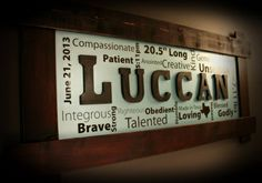 Custom made and hand crafted wall art made from solid wood. The attribute words are personalized and the center letters are solid wood. Made to order with your choice of background color, wood frame color and other custom additional options available upon request.