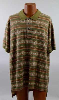 Orvis XXL Men's Short Sleeve Aztek Print 100% Cotton Polo Shirt Used  #Orvis #PoloRugby