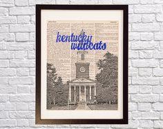 University of Kentucky Dictionary Art Print - Memorial Hall, Lexington, Kentucky - Vintage Dictionary - Kentucky Wildcats Art, UK