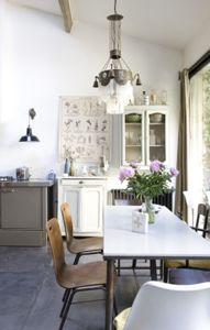 dlhý stôl v kuchyni pod oknom