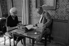 Vladimir and Vera Nabokov, working at home, uncredited