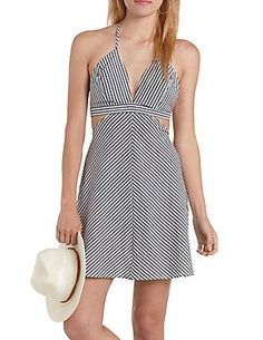 Striped Cut-Out Halter Dress