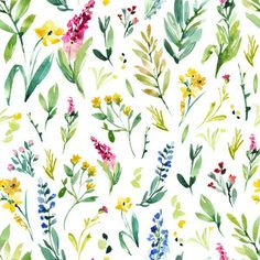 Silhouette Design Store: watercolor flower pattern