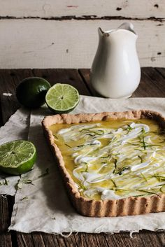 Lime Curd Tart with Coconut Whipped Cream. #food #tarts #desserts