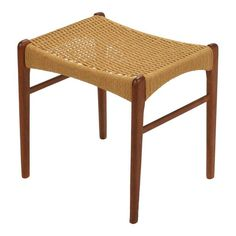 This teak stool by Peder Kristensen for Glyngore Stolefabrick is a beautiful example of Classic Danish modern design. Expert craftsmanship, fine lines and a seat of woven papercord make this the perfect occasional piece. Home Furniture, Outdoor Furniture, Outdoor Decor, Low Stool, Danish Modern, Vanity Bench, Teak, Modern Design, Ottoman