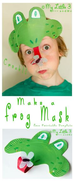 Make a curly tongued, fly catching, Paper Plate #Frog Mask. CROAK!  (mylittle3andme.co.uk)